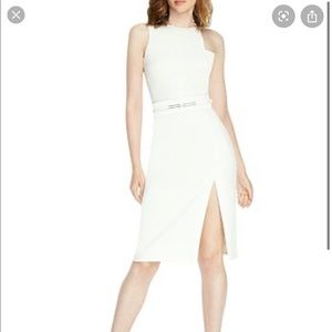 Halston heritage sleeveless sash belt dress